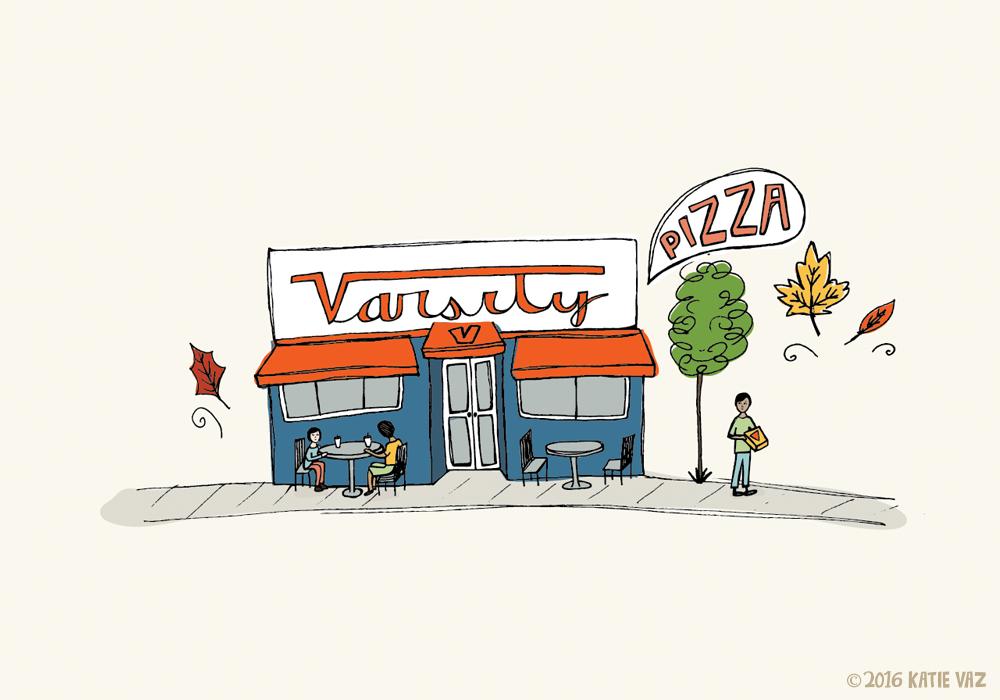 Varsity Pizza Illustration | Katie Vaz