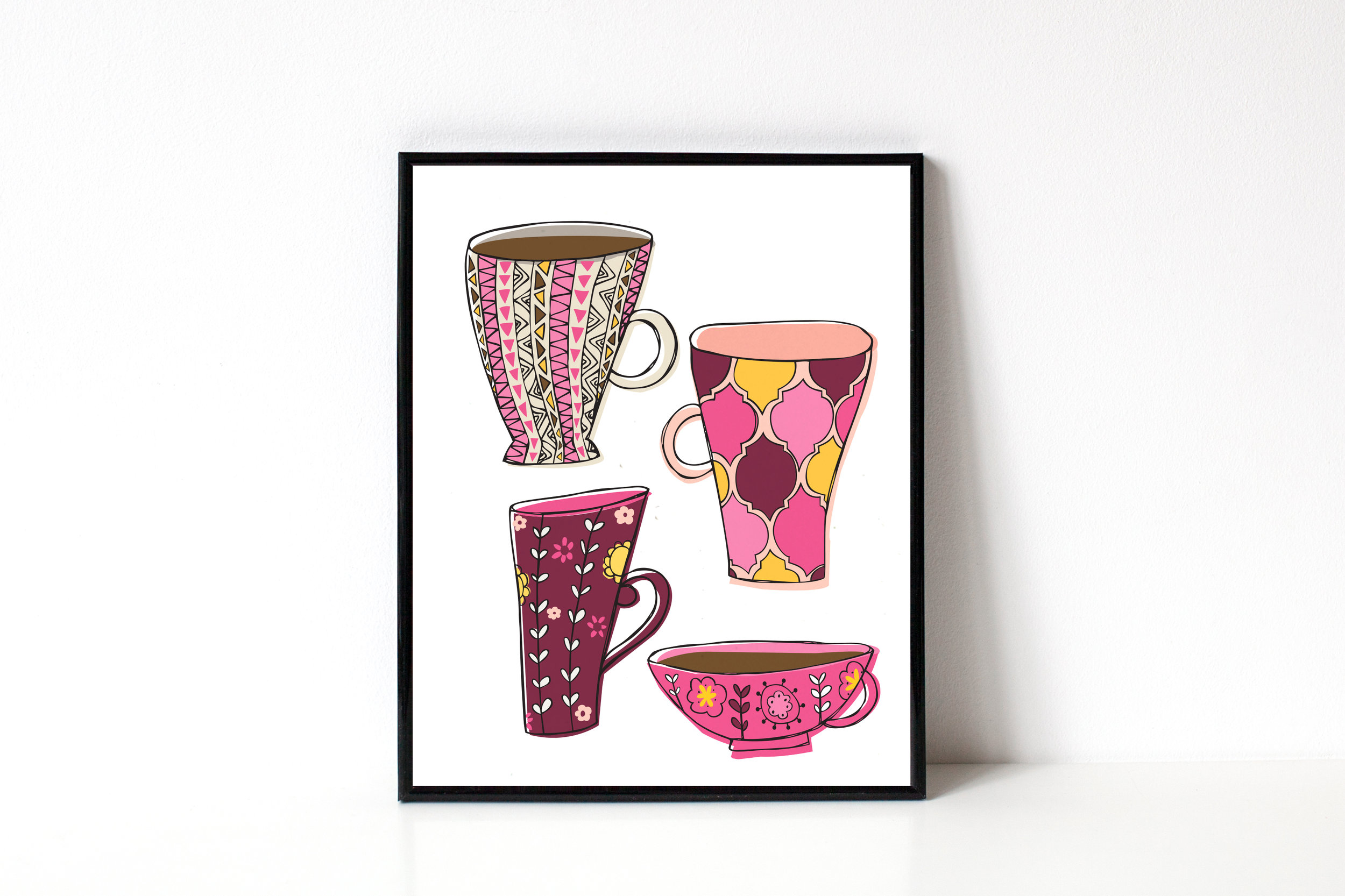 Illustrated coffee mugs | hand lettering and illustration