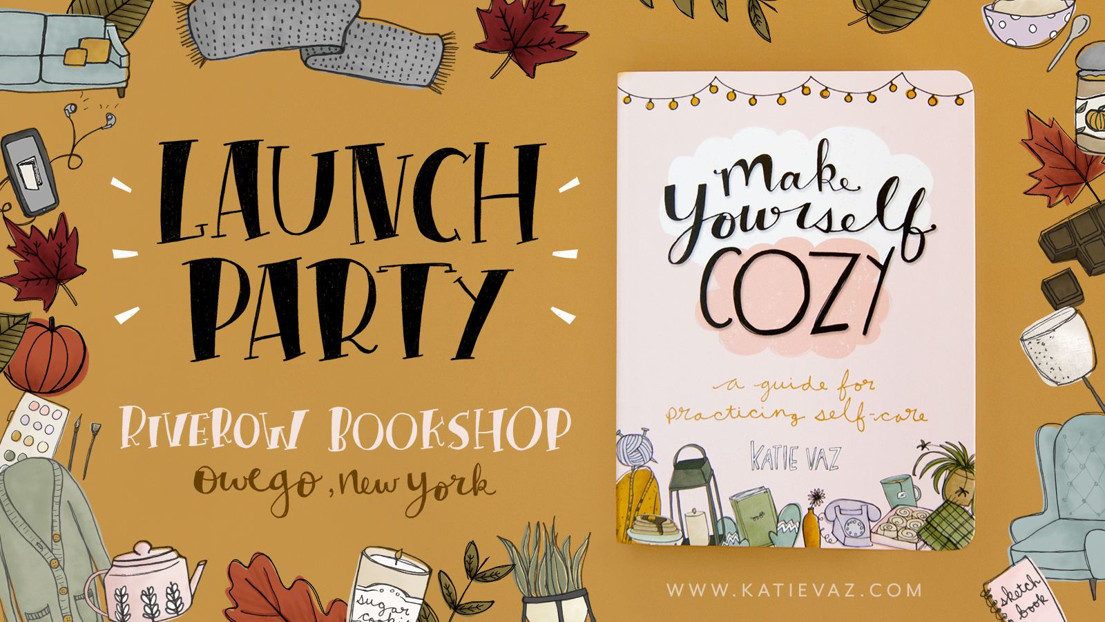 Promotional graphic for a book launch party
