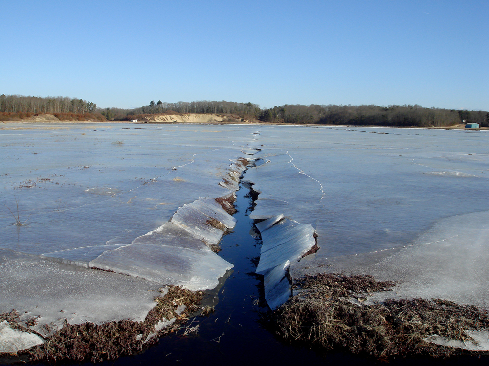 February, 2008 | February Ice | The ice edge breaks crisply along the channel on the 32 acre