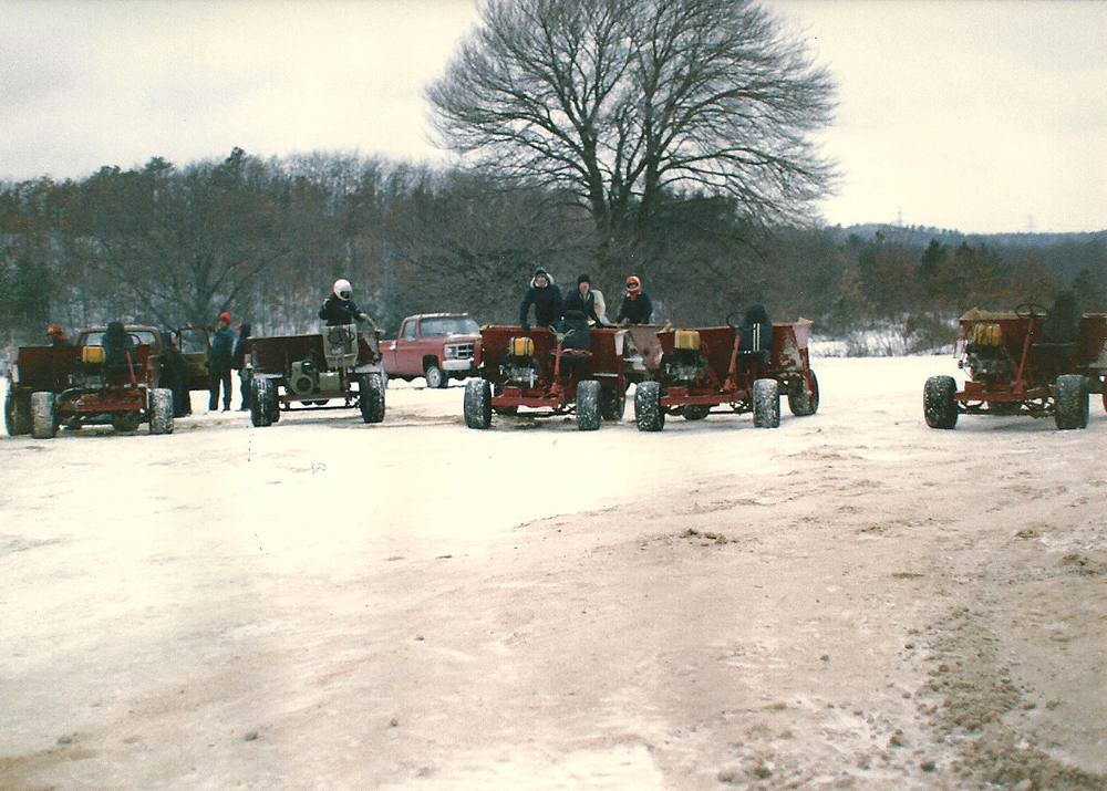 Winter, 1989 | Sand Buggies on Manoevers | If enough ice forms on a winter flood, buggies are used to distribute the sand across the bogs.