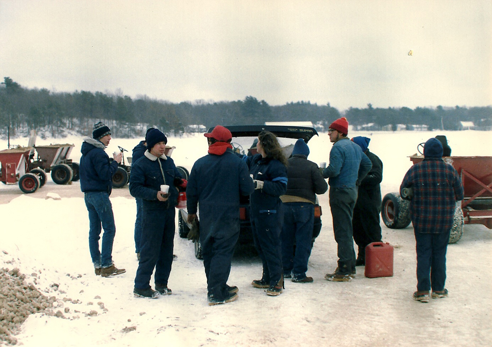 Winter, 1989 | Coffee Break | Coffee breaks allow the crew to warm up and share fishing stories.