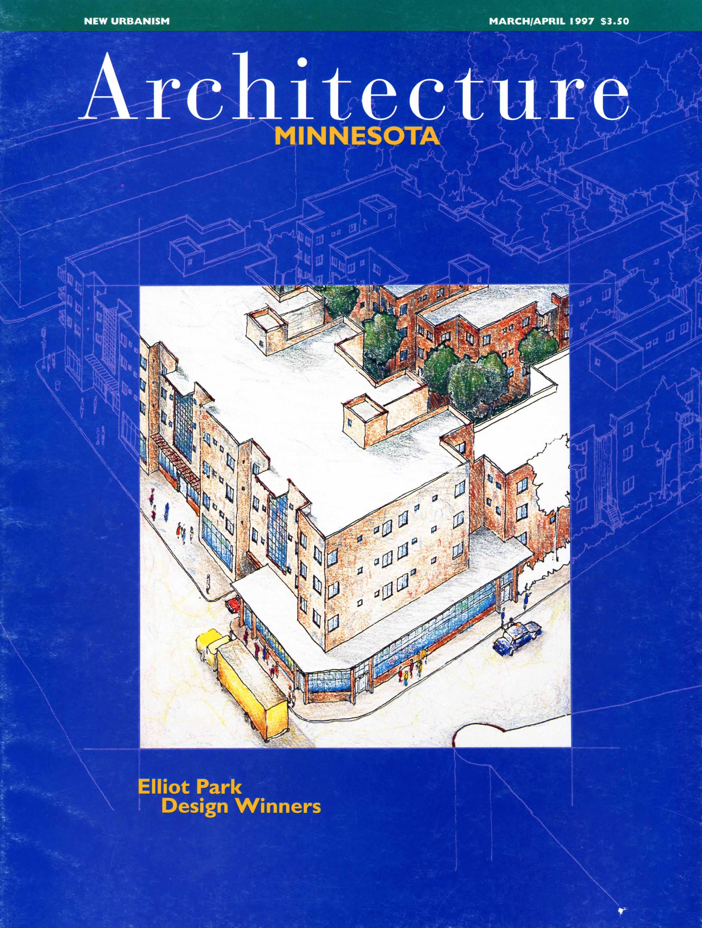 AIA Minnesota Magazine Cover, Elliot Park Neighborhood Competition, 1997