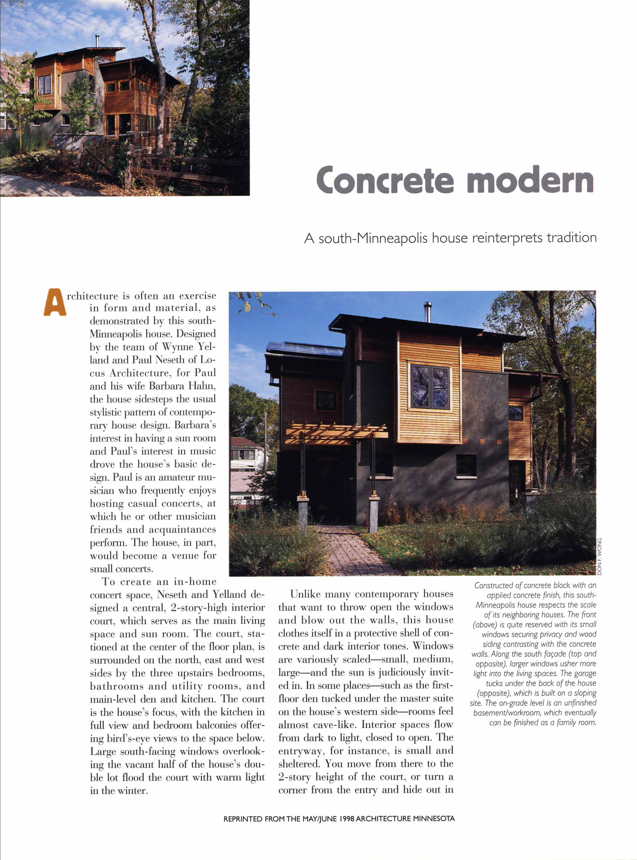 Architecture MN, Single Family Loft, May/June 1998
