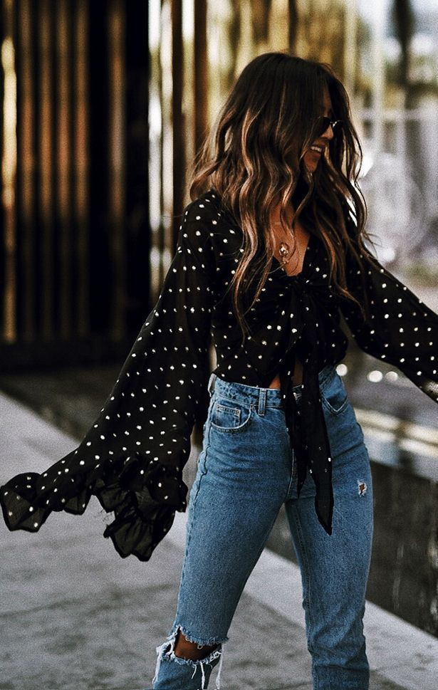 Black polka dot top and high waisted jeans  Street style, street fashion, best street style, OOTD, OOTD Inspo, street style stalking, outfit ideas, what to wear now, Fashion Bloggers, Style, Seasonal Style, Outfit Inspi.jpg