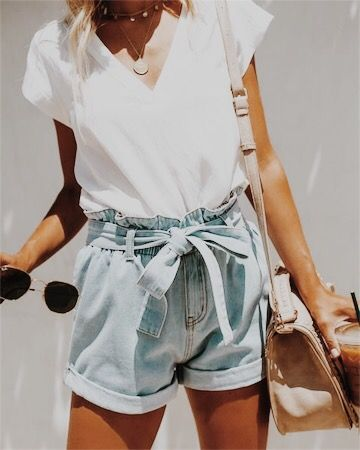 Denim high waisted shorts + white tee.jpg