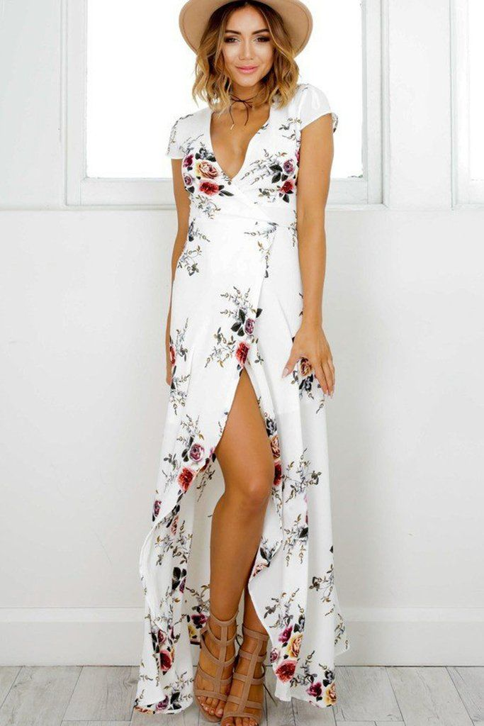With the V-neck neckline and irregular length of this dress,the women wearing it will show sexy and noble temperaments.Especially,this dress will add prin. Material_ChiffonSize_ S,M,L,XLColor_WhiteNeckline_V-neckSleeves.jpg