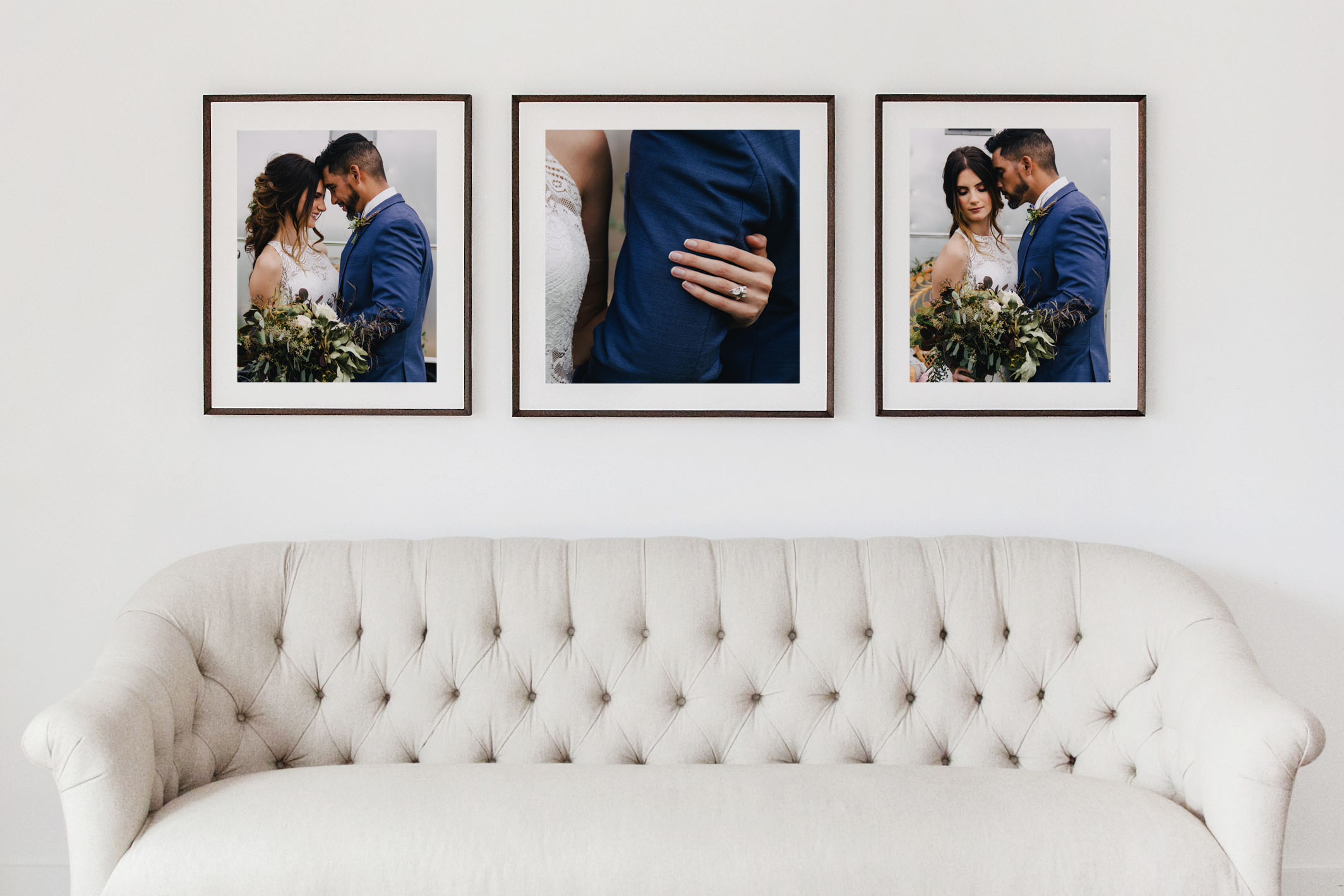 Simply classic and clean style. Includes one square frame and two vertical frames.   Collection 1   (2) 20x24 frames with 16x20 matted prints  (1) 24x24 framed with 20x20 matted print