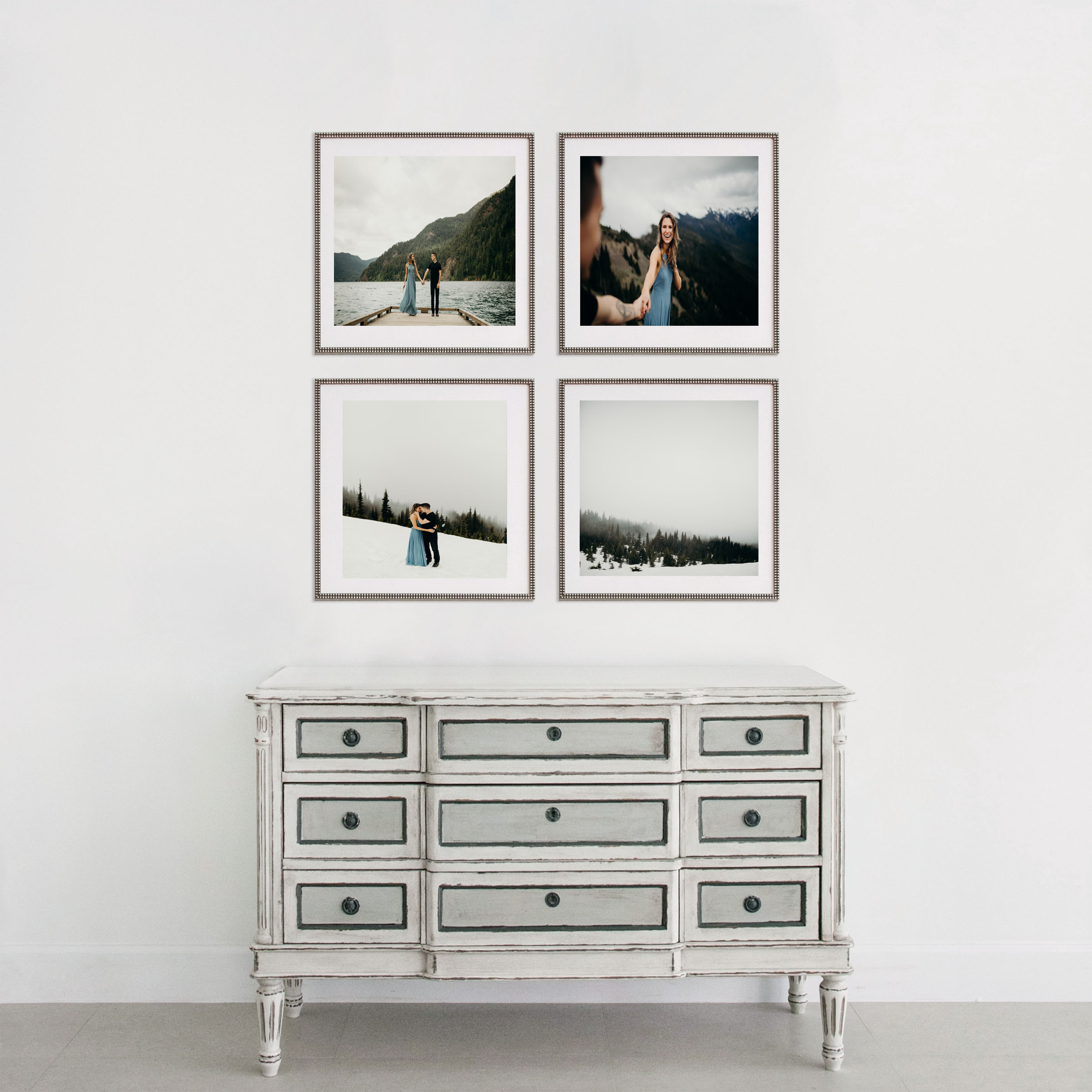Be bold and decorate your walls with this 4 piece arrangement. All four frames are equally the same.   Collection 2   (4) 20x20 with 16x16 matted prints
