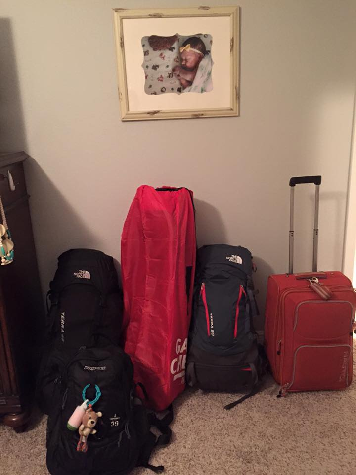 This is all we packed for 15 days -- 2 adults, one six month old