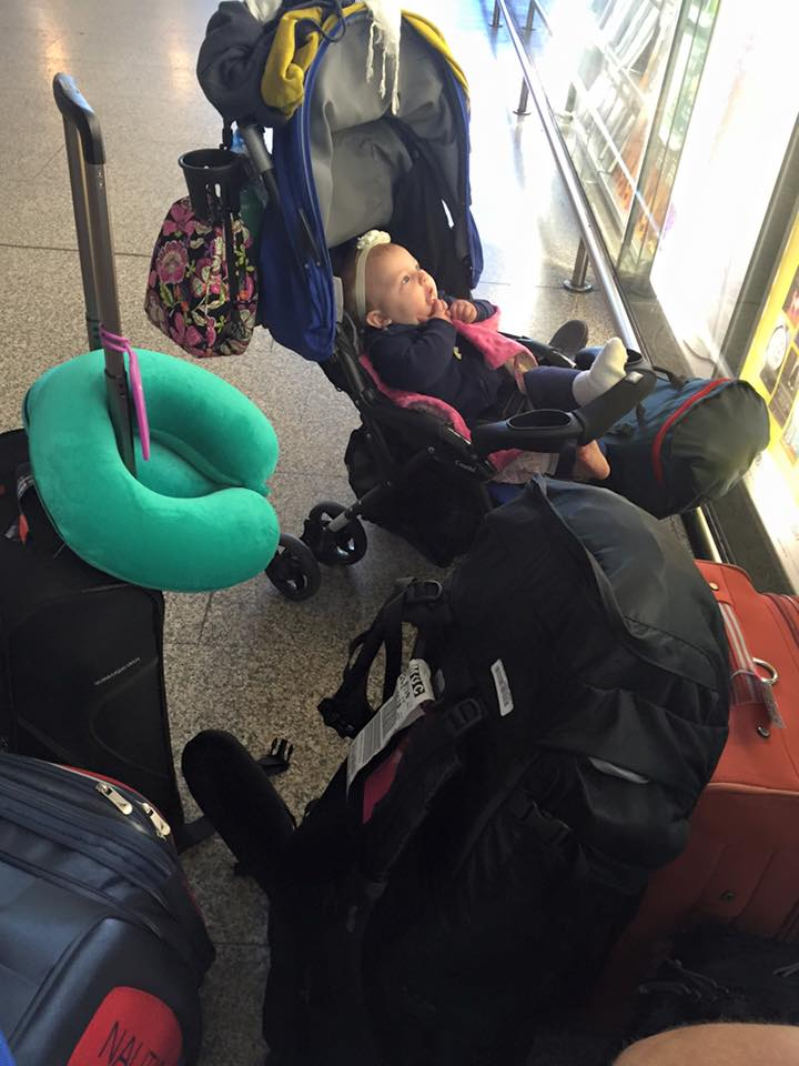 Our baby and all of our bags (parents and ours) in an Italian train station