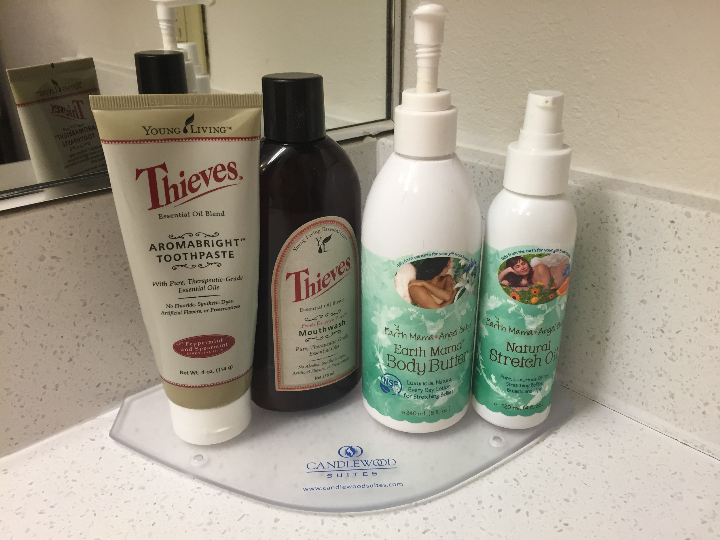 THe bathroom of our hotel in Houston -- YL & Earth Mama products taking over