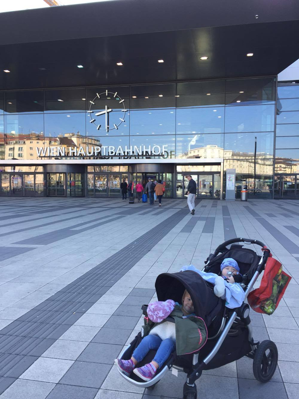 In the morning before the drama -- my babies in front of the Vienna Train Station