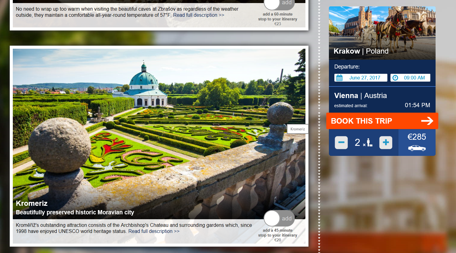 A screen shot of the actual website. You can choose stops along the journey.