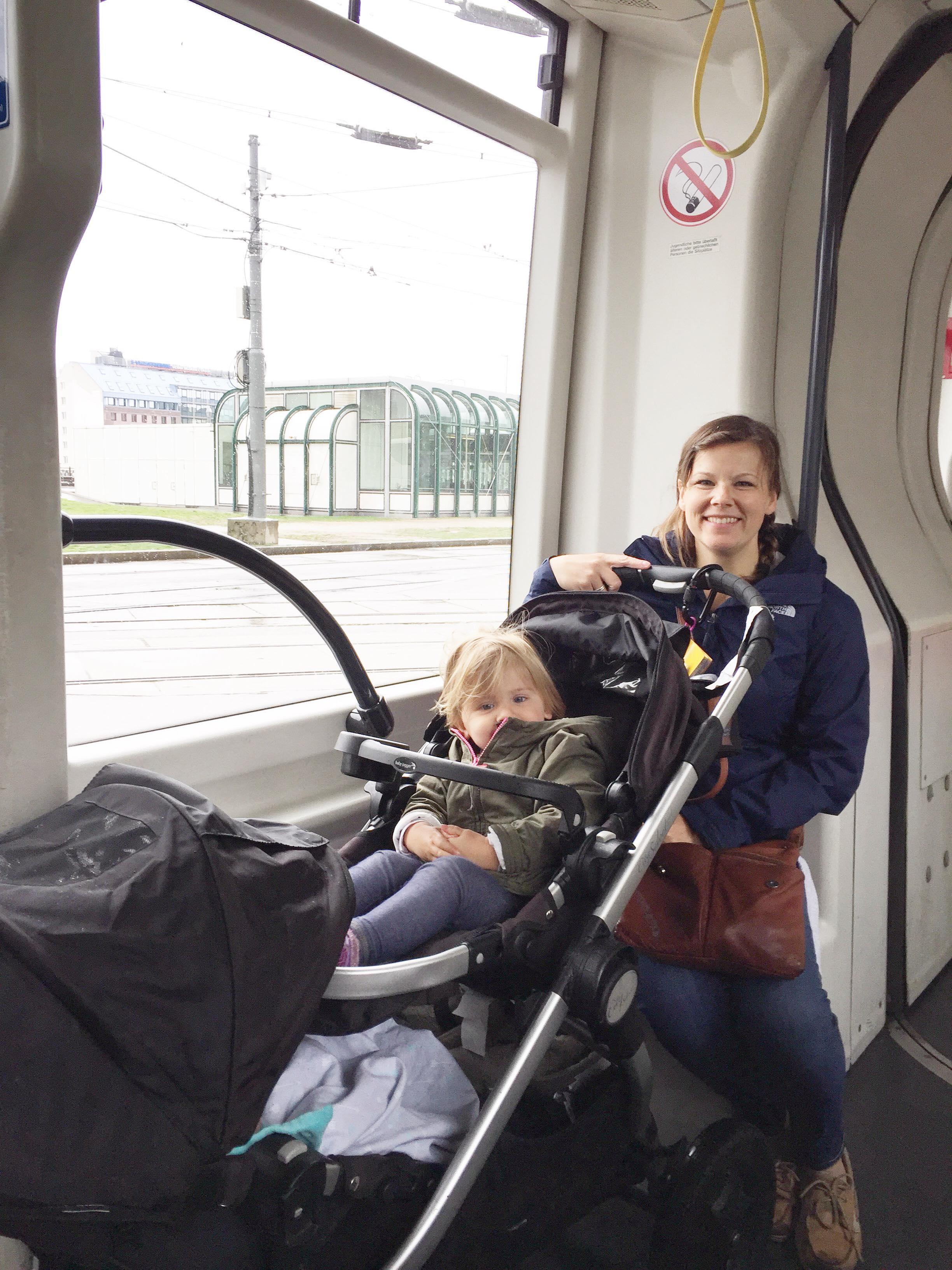 The convenient stroller seat for our tram tour