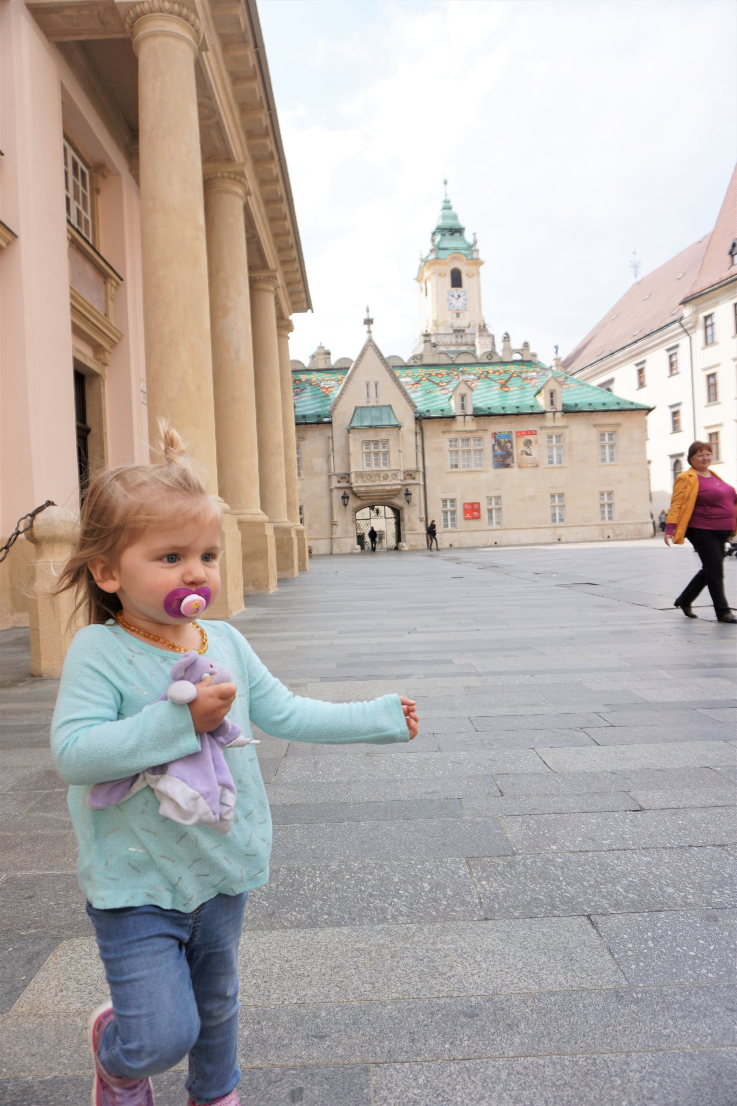 charletta running through Primate's Palace Courtyard