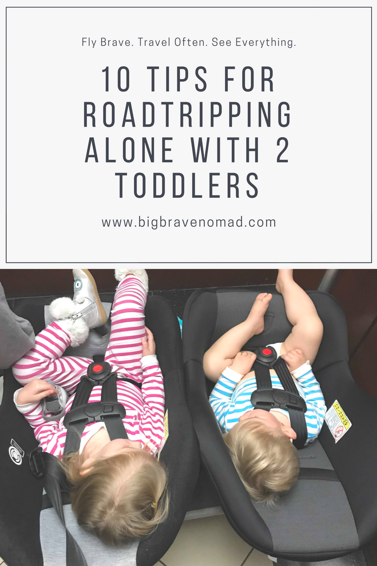 Both kids asleep in carseats at the hotel -- pinterest graphic