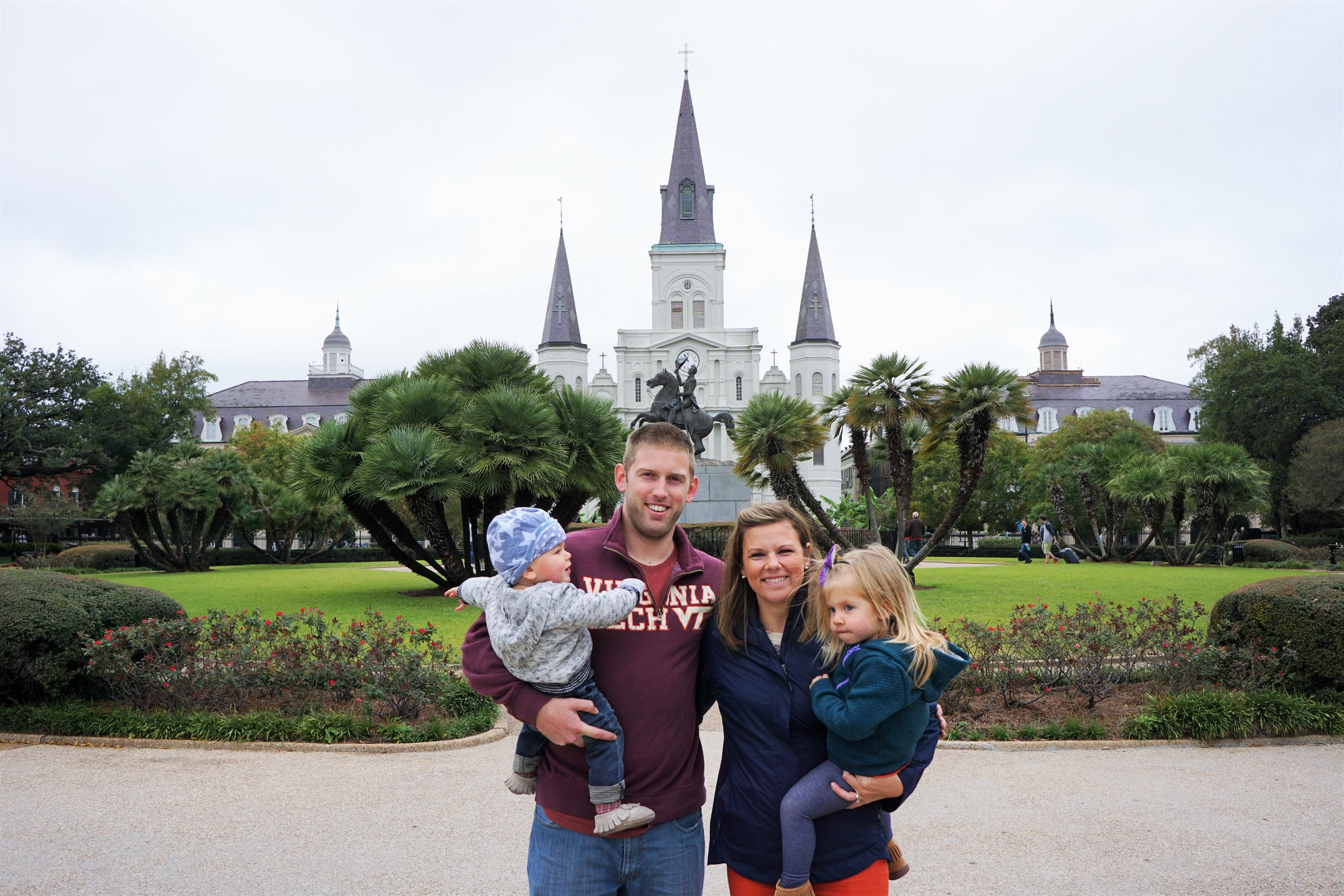 The 4 nomads in front of st Louis Cathedral in Jackson Square