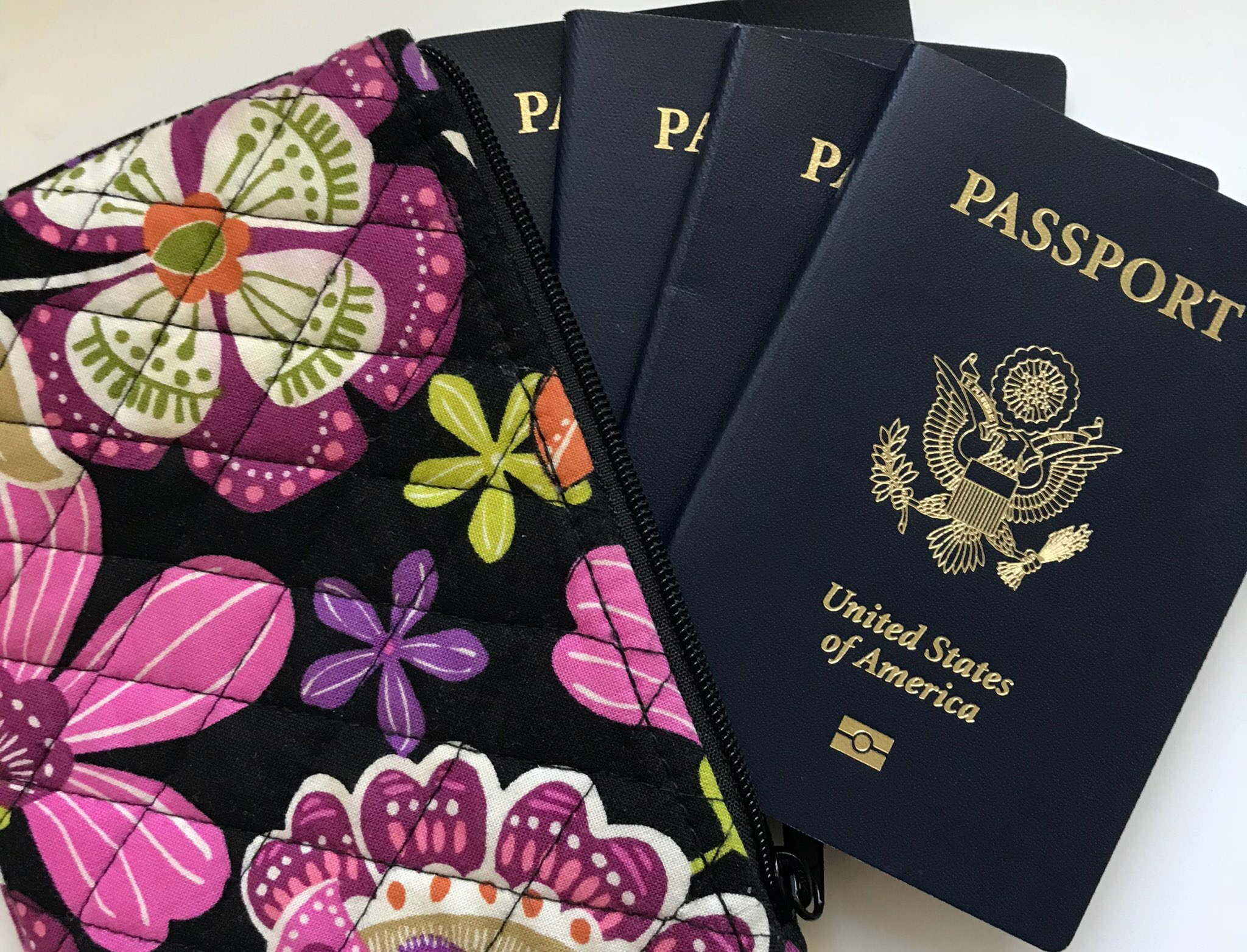 I use this little Vera Bradley zipper bag to stow the 4 passports together.