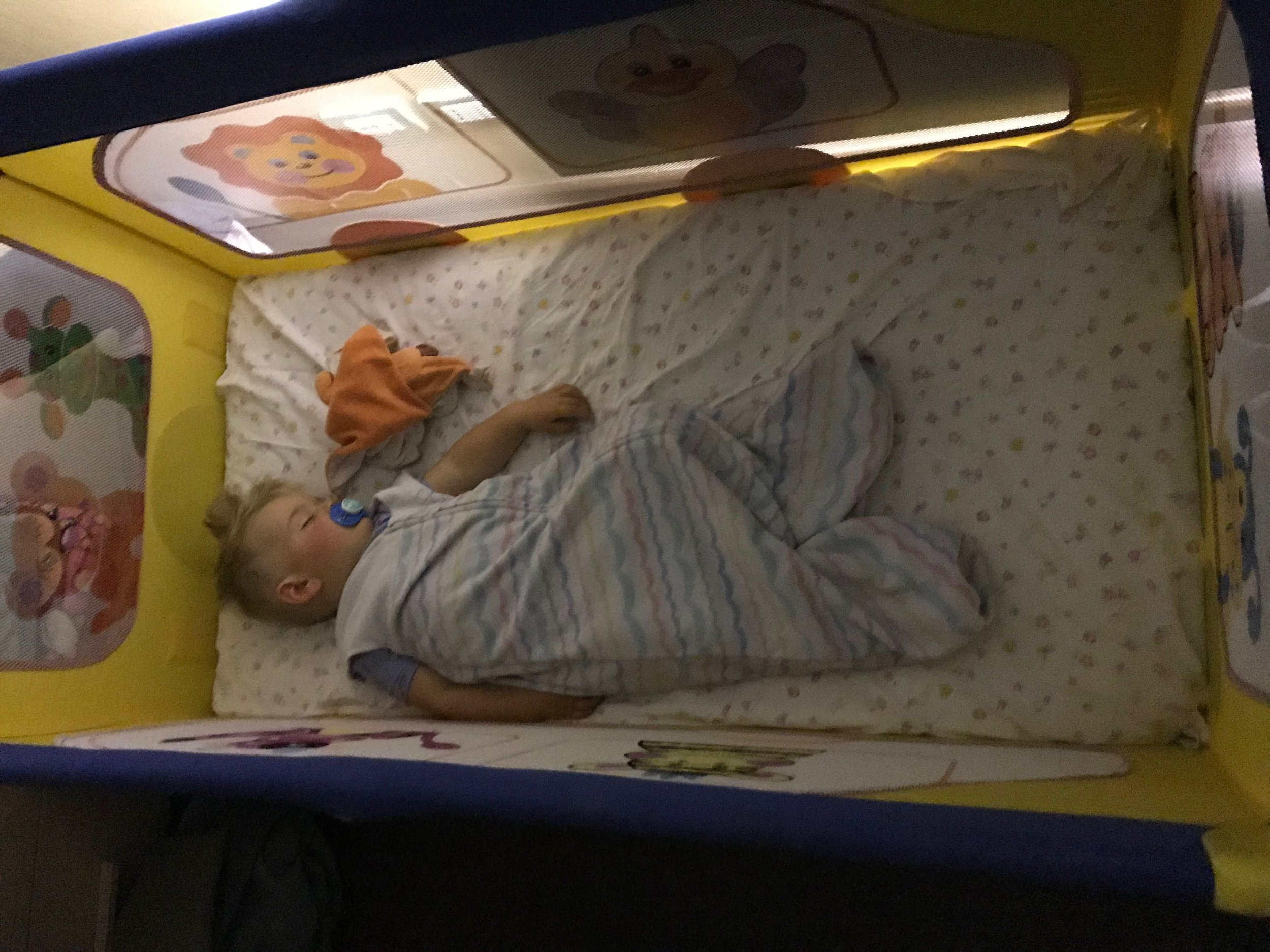 Latham in an arranged baby cot in Milan, italy