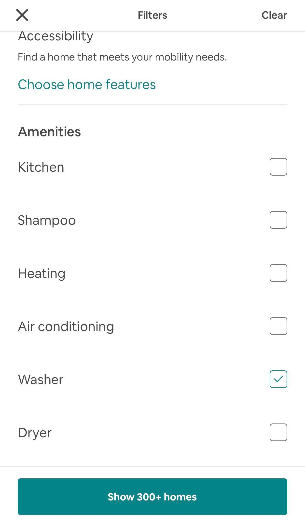 Where to find the washer option on airbnb