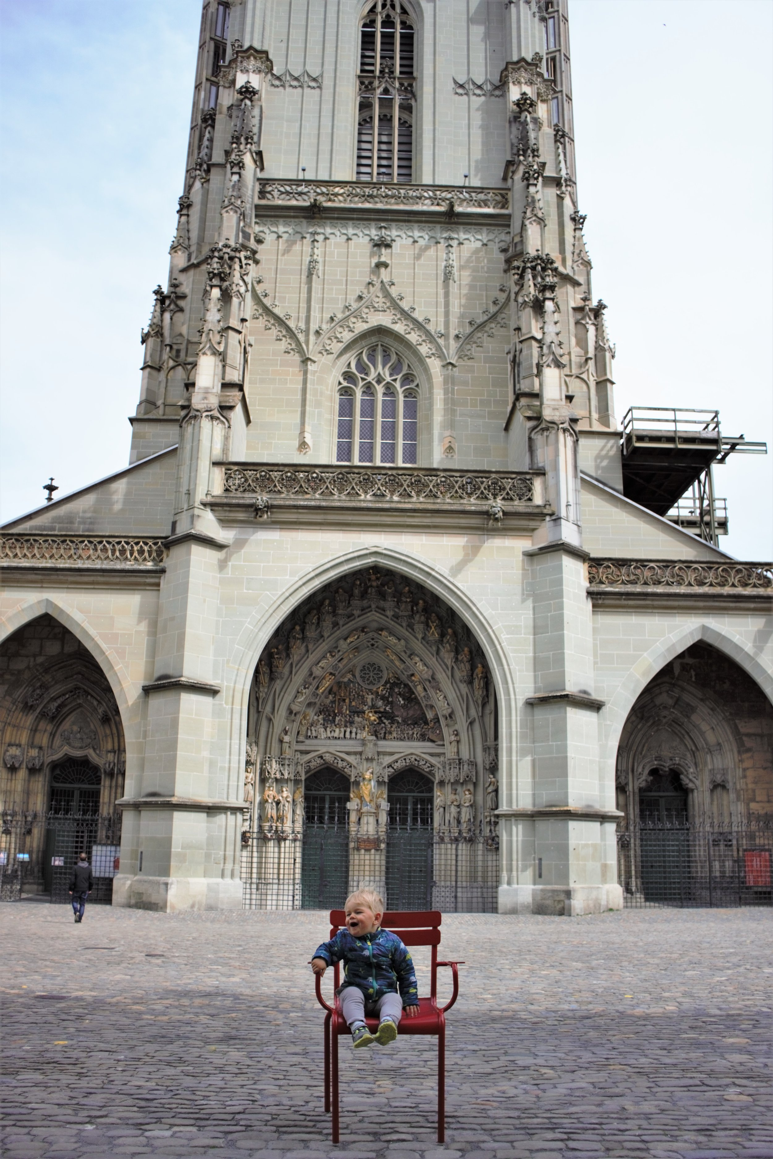 We did a little photoshoot in front of the Cathedral of Bern -- the tower is so tall I couldn't get it all in