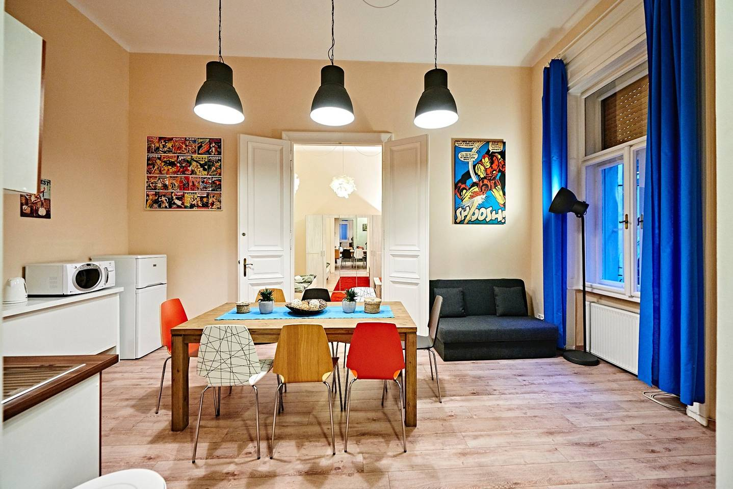 This was our airbnb in budapest, Hungary -- 3 bedrooms, VERY centrally located and only $84. per night