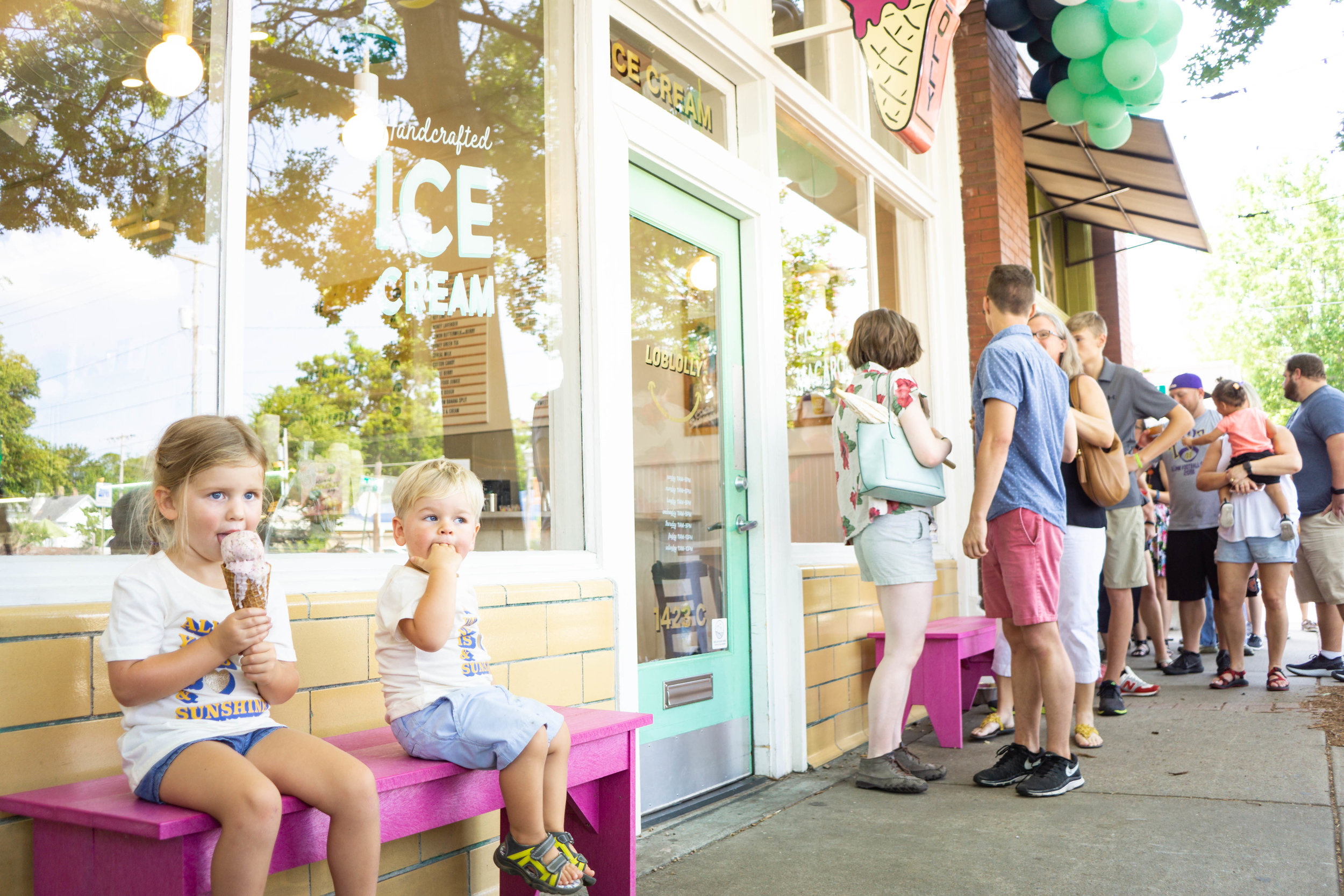 The kids enjoying their ice cream while the long line formed