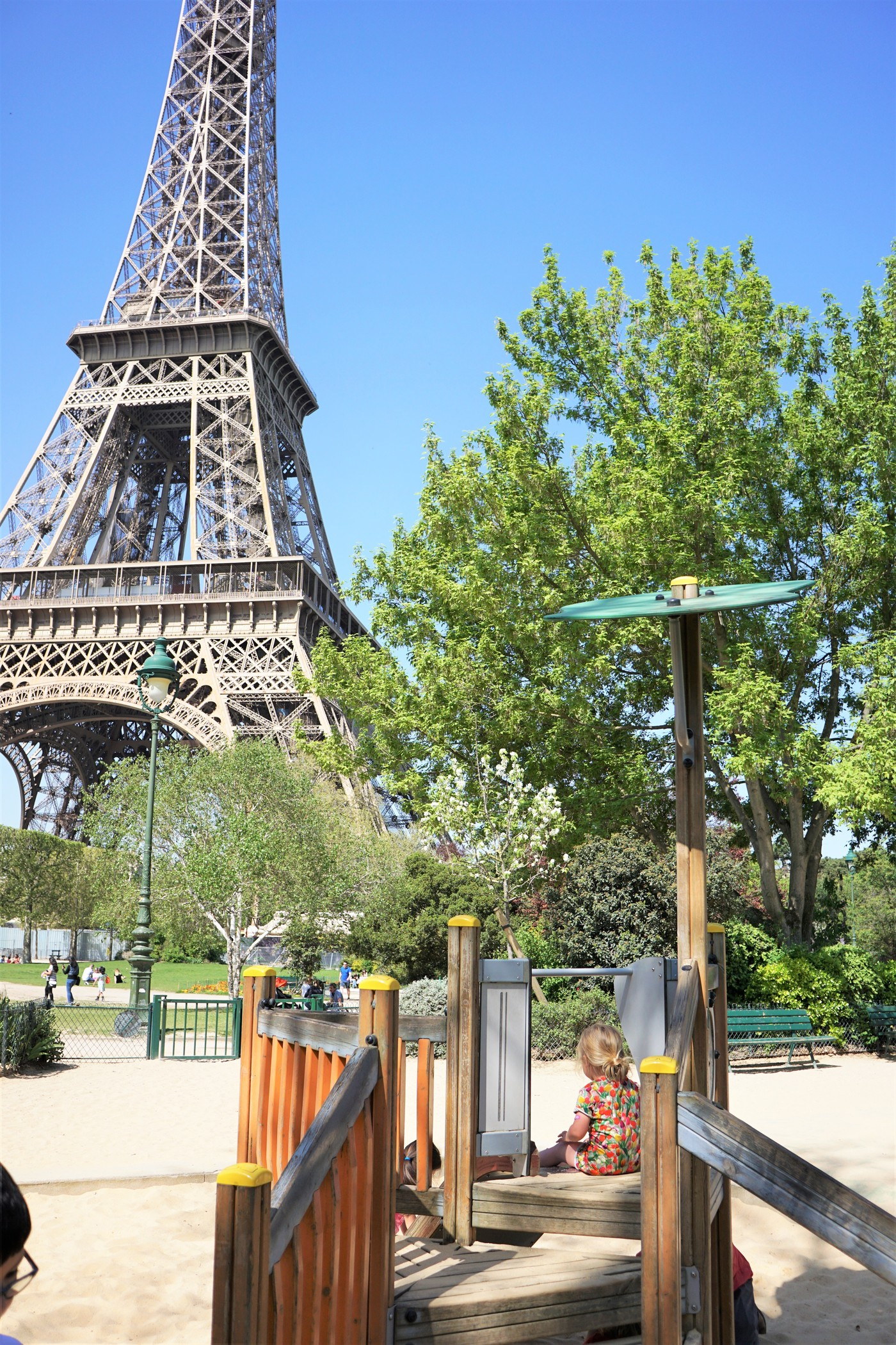One of the playgrounds at the base of the Eiffel Tower