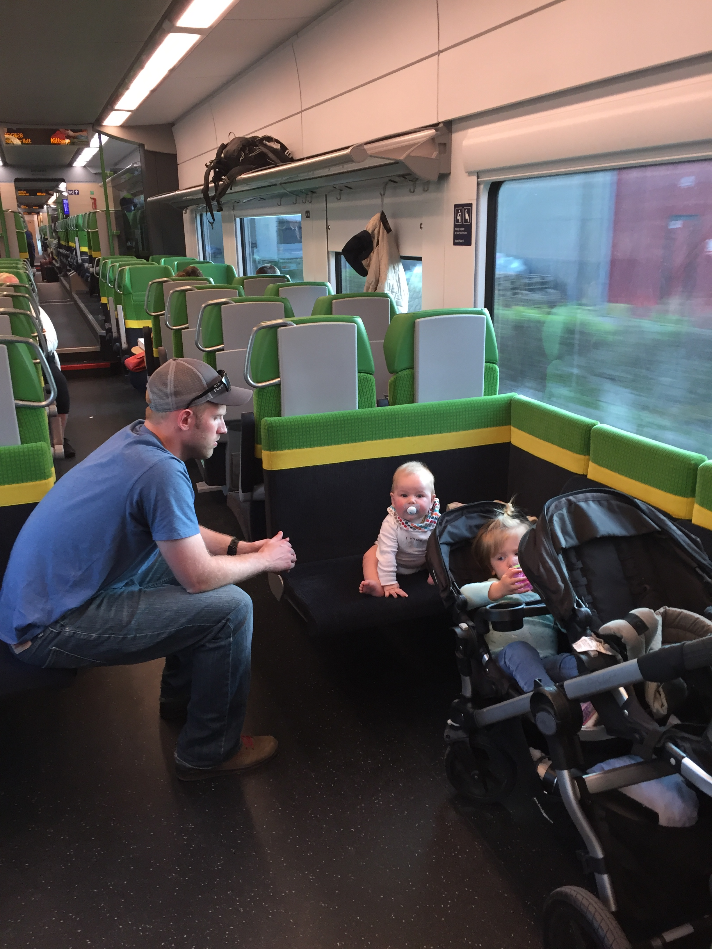A commuter train from Bratislava to Vienna was empty, so the we parked the stroller and the kids rode in it most of the way!