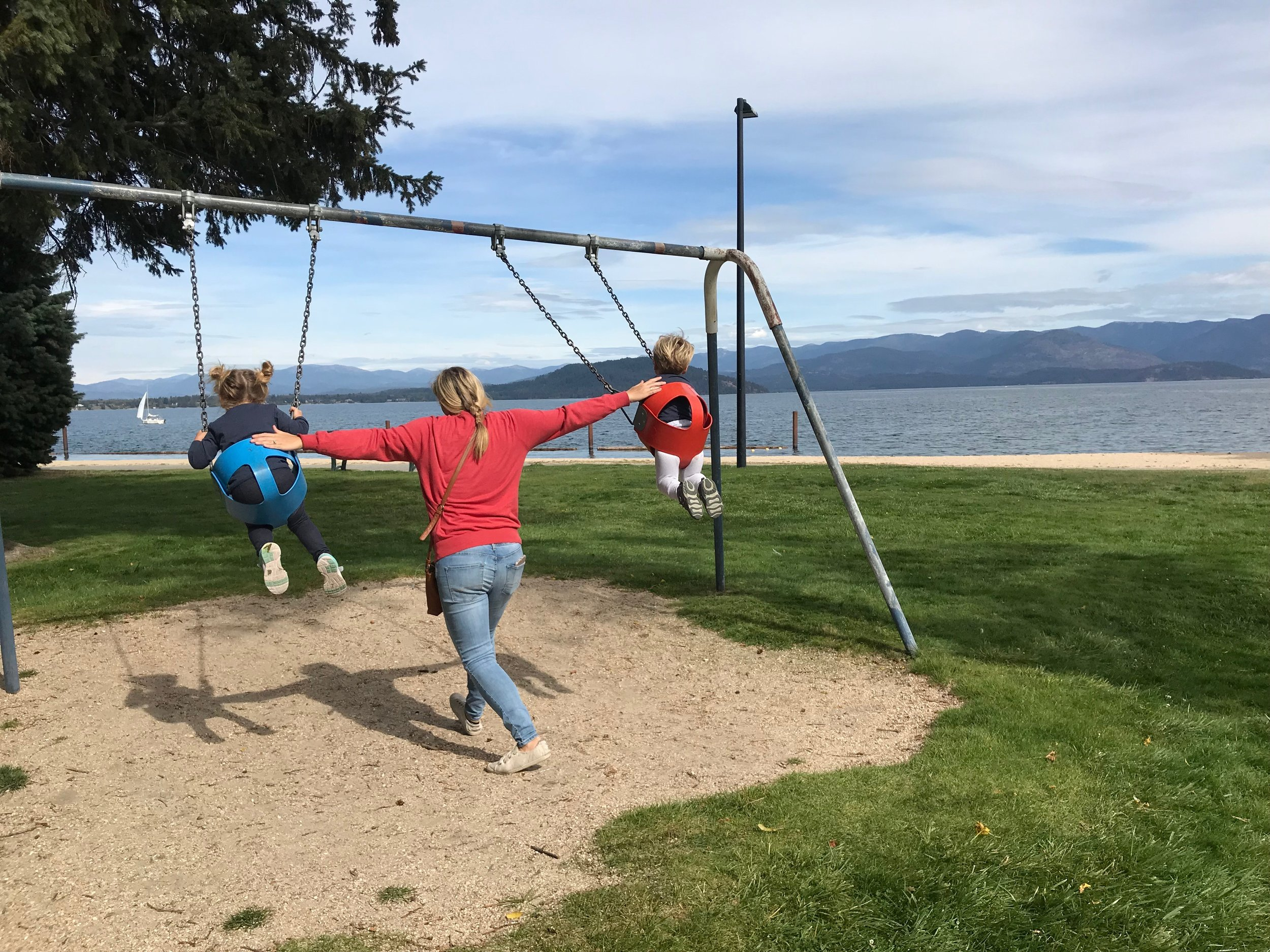 Some fun swings along the water walkway