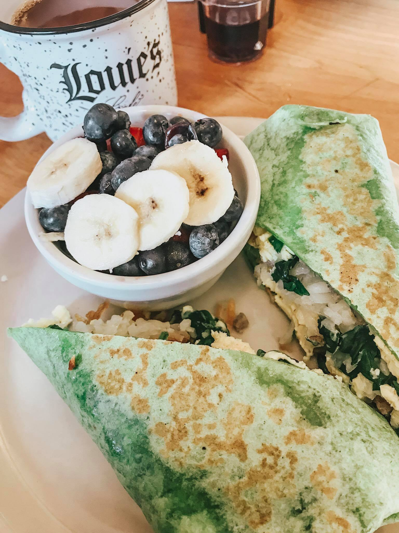 The Delicious breakfast wrap at Louie's Cafe
