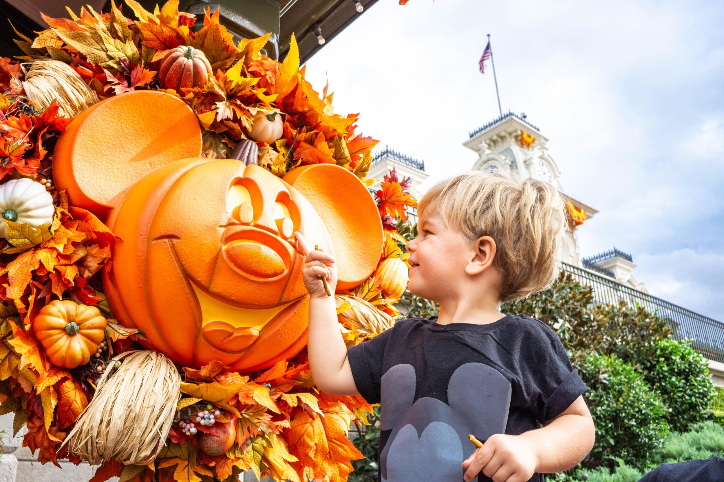 Our bud loves pumpkins & mickey, so he was so excited to see mickey pumpkins