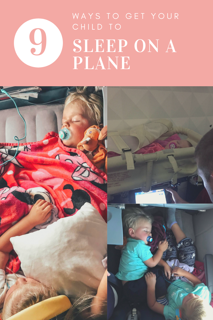 Flying with young children, toddlers or a baby can feel scary, but it doesn't need to be. I've compiled all the ways we get our kids to sleep on a plan. #flyingwithkids #familytravel #sleeponaplane #travelfamily
