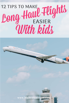 12 Tips for Enjoying Long Haul flights with kids. Whether you're looking for tips for sleep, scoring kids meals, or how to keep you child entertained on a flight — we've got all the tips for long haul flights. #travelwithkids #flywithkids #familytravel