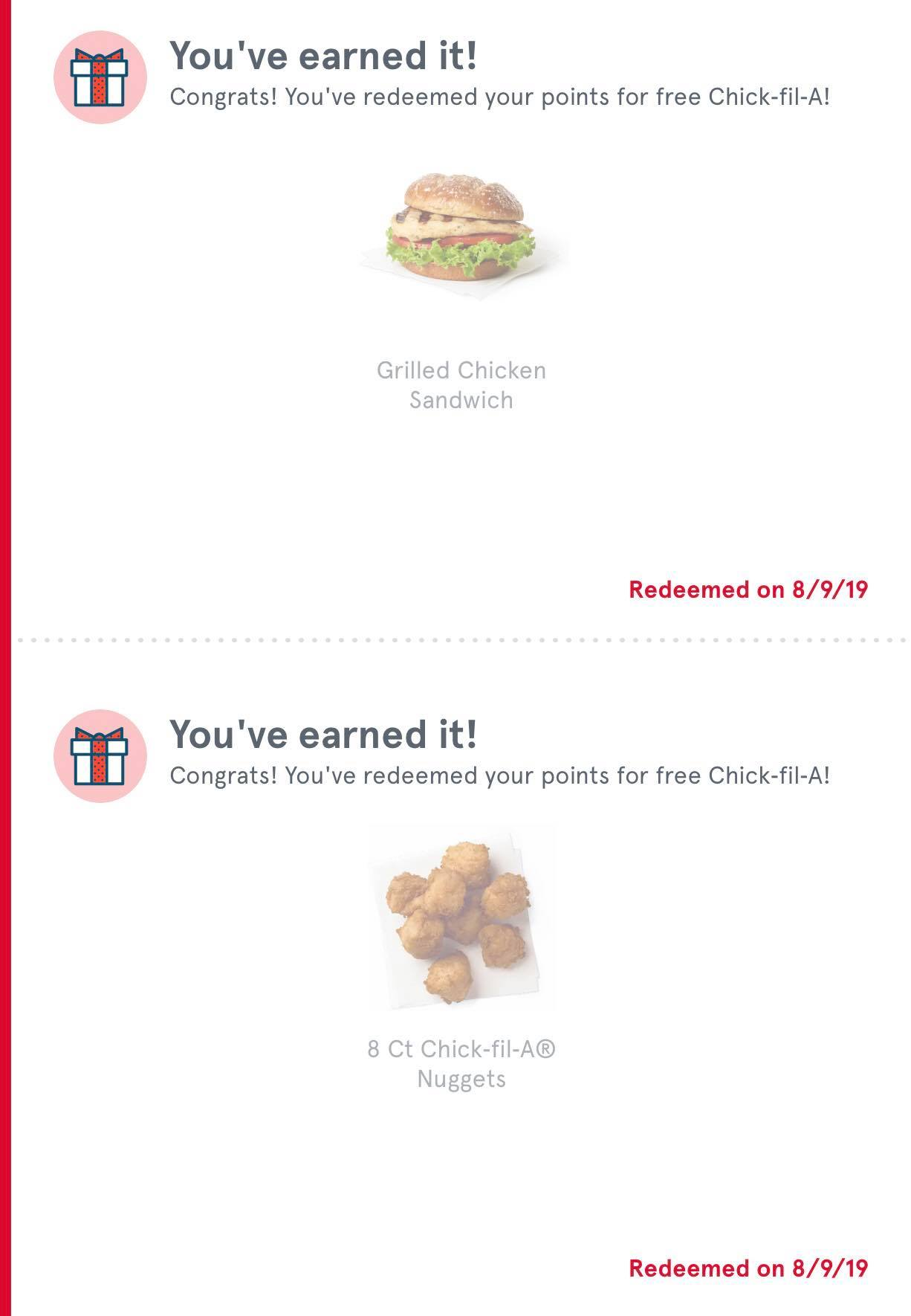 You know I love chick-Fi-La! This is A screenshot showing that I earned a free nugget and sandwich in August!