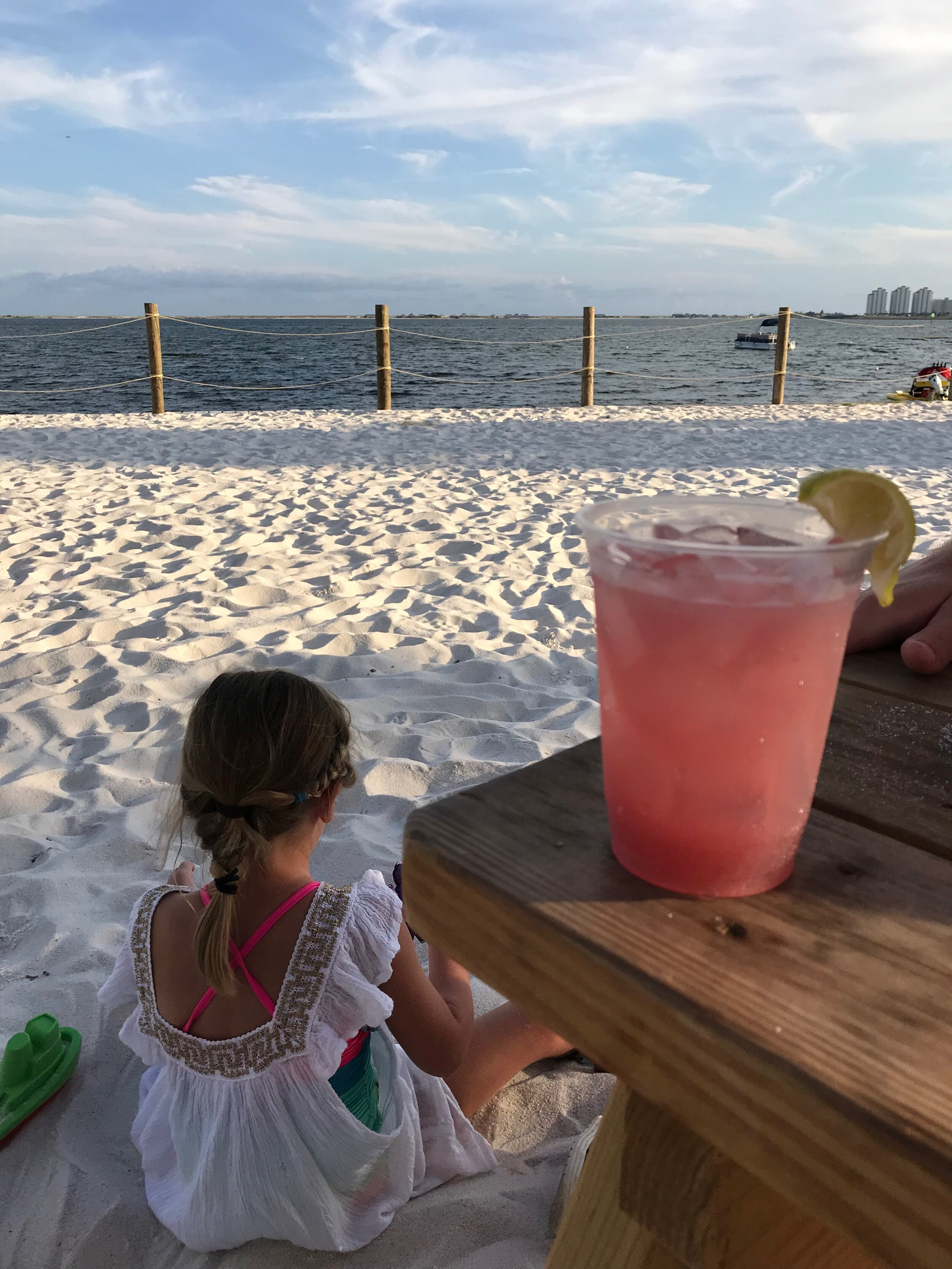 The Views of the Santa Rosa sound from our table at Dewey Destin's Navarre