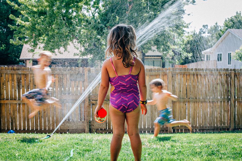 watching the sprinklers