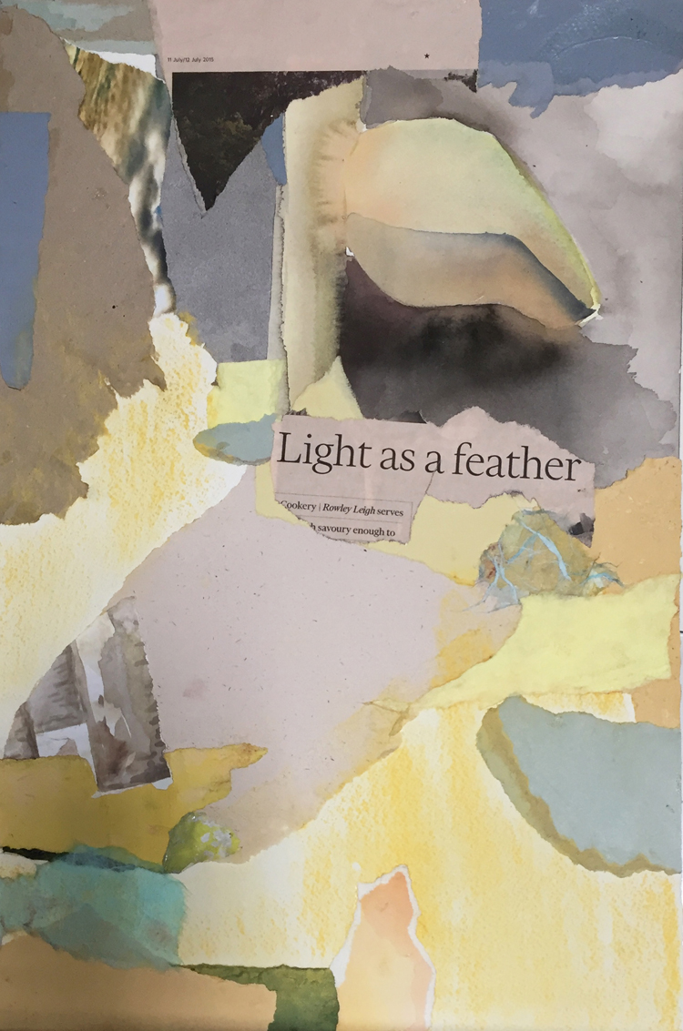 LIGHT AS A FEATHER- mixed media collage-18 x 12- 2016