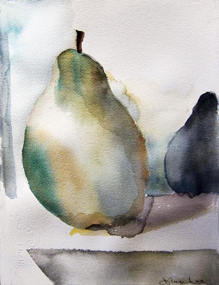 GREEN PEAR- watercolor- 9 x 6- 2011