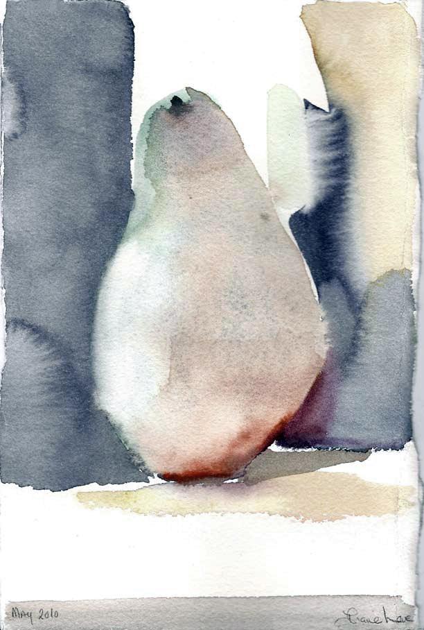 SINGLE PEAR-watercolor-9 x 6- 2010