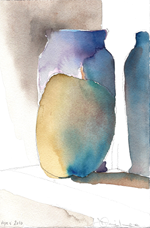 APPLE VASE #1- watercolor- 9 x 6- 2010