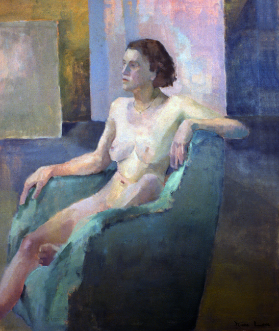 IN THE GREEN CHAIR- oil on canvas- 48 x 40 - 1992
