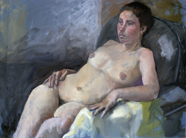 AT HER EASE- oil on paper- 21 x 29- 1987