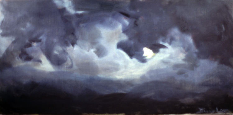 NIGHT CLOUDS- oil on canvas- 16 x 26-  1991