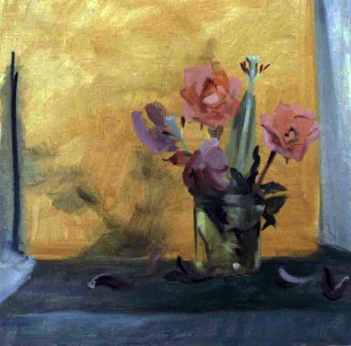 SAFFRON AND SALMON- oil on canvas- 14 x 14- 1989