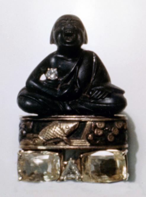 #66 PERSIMMON WOOD MAN NETSUKE _ FUCHI_  Ceylon sapphires, diamonds .jpg