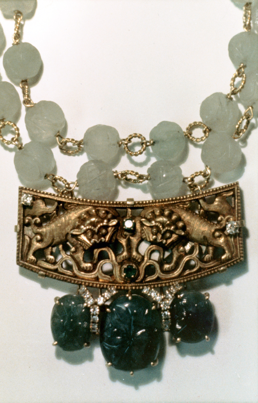 #57 CHINESE ORNAMENT  carved emeralds, diamonds, carved water jade beads .jpg
