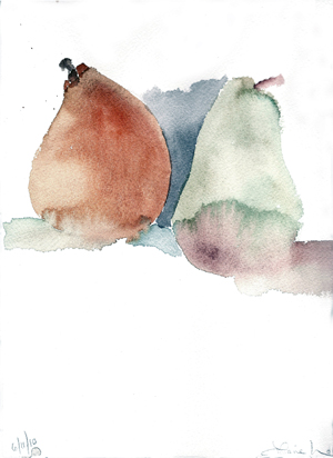 ORANGE AND PINK- watercolor- 9 x 12- 2011