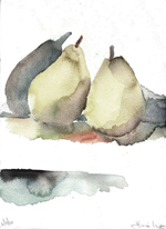 PEAS' SHADOW- watercolor- 9 x 12- 2011